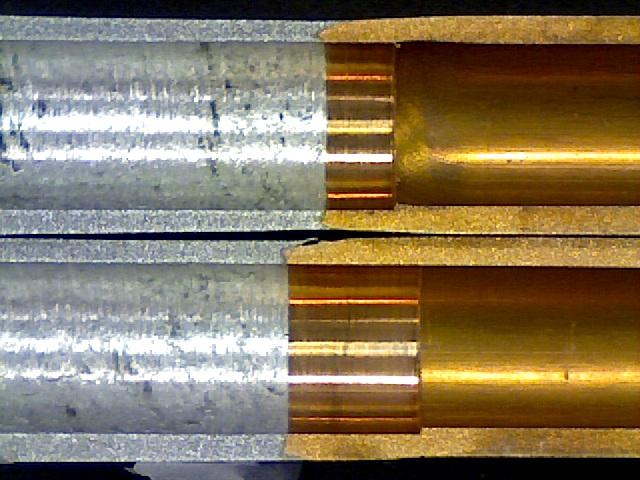 Section view of bi-metal Aluminum-Copper tubes.