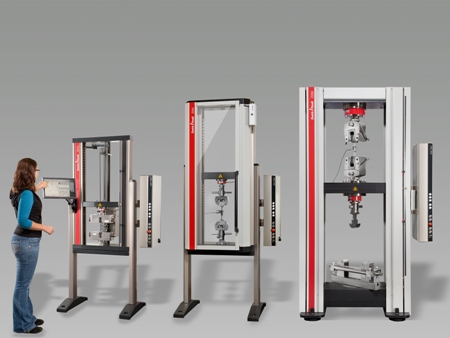 Figure 2. Zwick's new Allround-Line system for testing of fiber-reinforced composite specimens is compatible with 13 different test fixtures and enables testing to more than 100 standards.