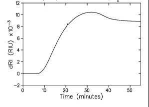 Analysis of a reverse phase acetonitrile/water gradient, 10% ? 90%, by dRI. The sample is lysozyme. Top: raw data with 250 µg injection of lysozyme which appears as a small feature on a drastically changing RI signal.