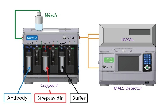 Calypso system hardware set-up with inline UV/Vis concentration detector and DAWN HELEOS MALS detector.