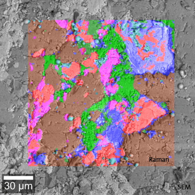 Raman spectral image of the mineral phase of a diorite rock section, overlaid onto the SEM image. Raman single spectra acquired from the three distinct regions with the characteristic Raman bands of quartz (brown), epidot (red) and plagioclase (green).
