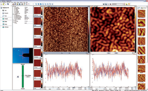 The intuitive graphical user interface provides immediate access to eight channels and extensive controller functions. Image data (left) show topography of triblock copolymer with 5Kx5K data.