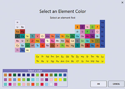 Element color selector window.