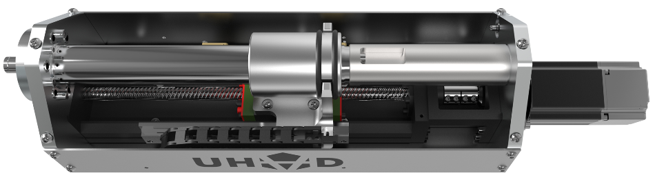 BAT Drive | Motorized ball screw linear drive with 38 mm clear bore and capable of speeds up to 1,000 mm/s.