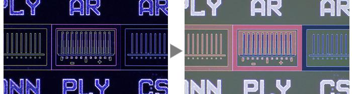 IC pattern on a semiconductor wafer (Left: Darkfield/Right: MIX (Brightfield + Darkfield)).