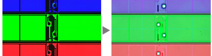 An LCD color filter (Left: Transmitted Light/Right: MIX (Transmitted Light + Brightfield)).