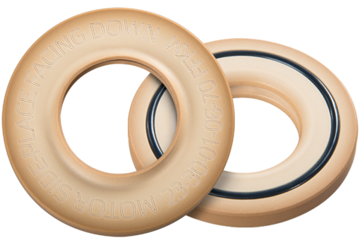 Vacuum seal PTFE/FFKM for applications with highly abrasive solutions