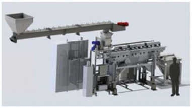 Image shows material preheat and hold-up hopper for short run, pilot evaluation.