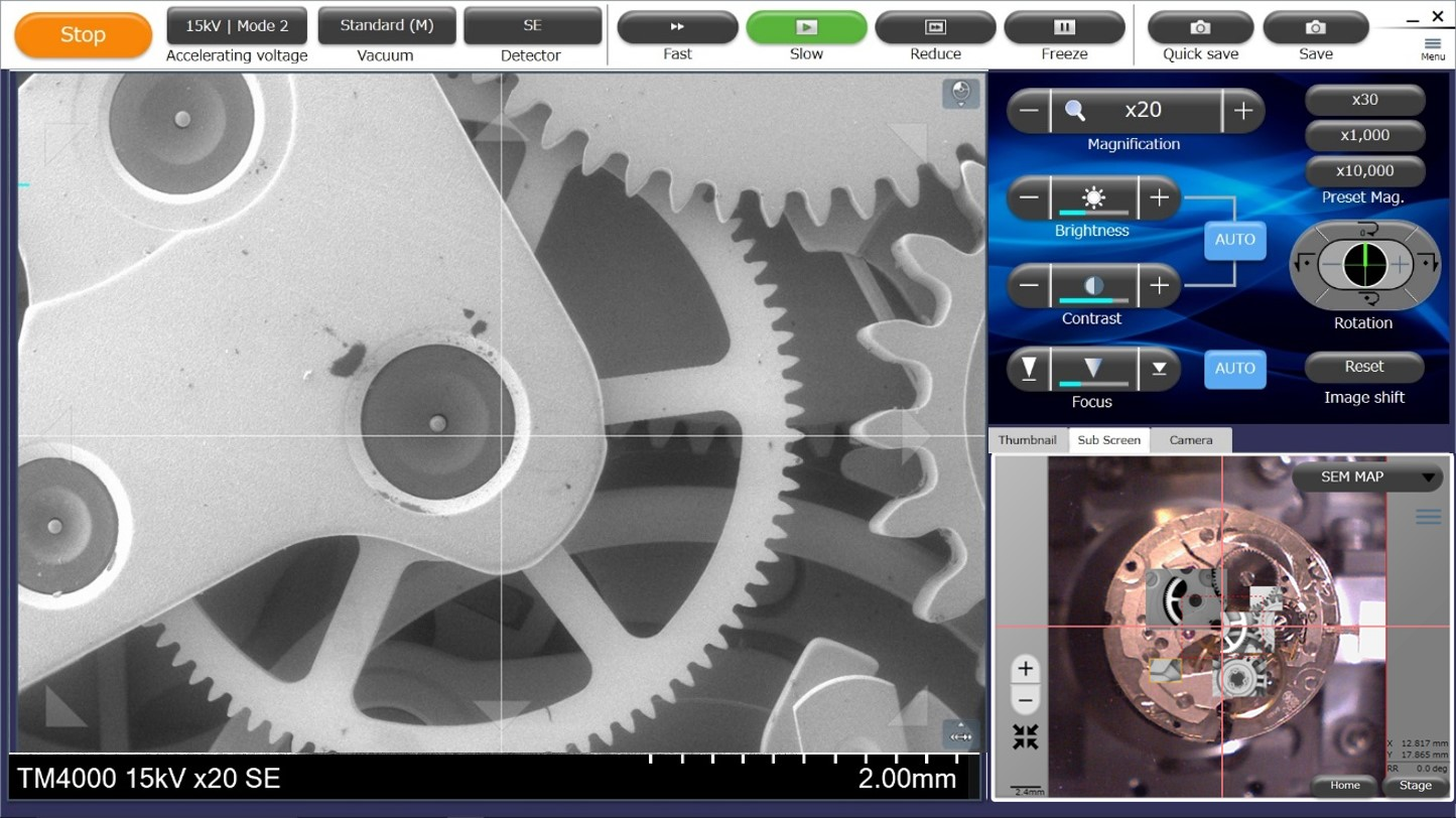 Left side shows an SE image of the inside of a watch,  bottom right shows the optical image with overlayed SEM images from areas that have been imaged