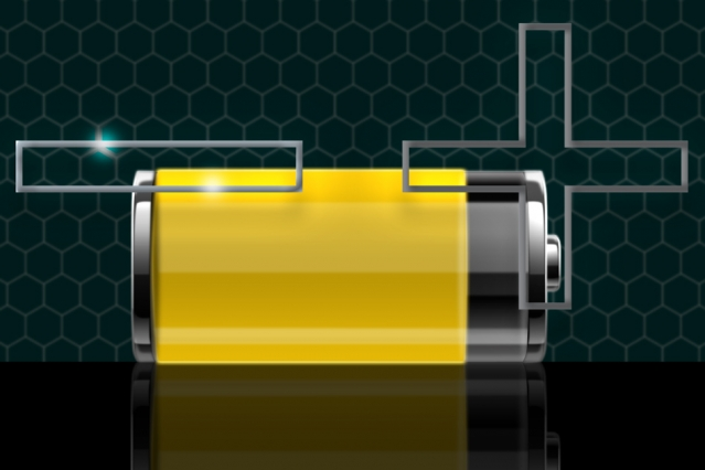 Yellow battery with a plus and minus sign.