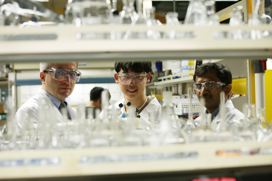 Professor Cafer T. Yavuz (left), PhD Candidate Youngdong Song (center), and Researcher Sreerangappa Ramesh (right).