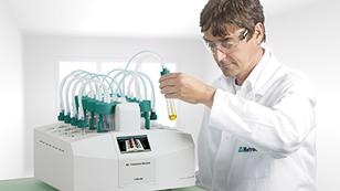 Lab technician analyzing the oxidation stability of an oil sample