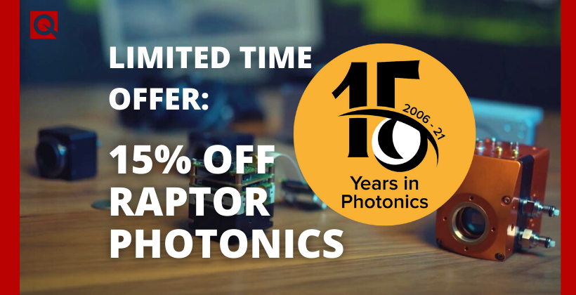 Raptor Photonics are celebrating their 15th anniversary with a promotion for a limited period