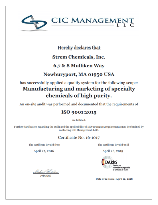 Continued Commitment to Quality: Strem Chemicals, Inc. Achieves ISO 9001:2015 Certification