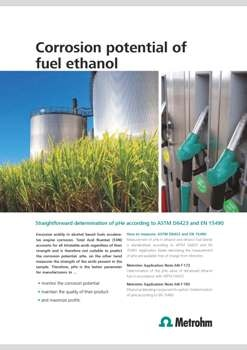 Metrohm EtOH Trode Sensor Suitable for Measuring pHe in Ethanol and Ethanol Fuel Blends