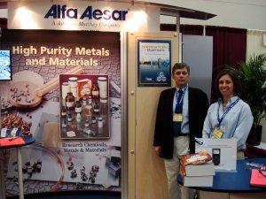 ALFA AESAR, Pamela Poulin, Marketing & Promotions Specialist and Rafi Dekermendjian, Organics and Organometallics Product Specialist