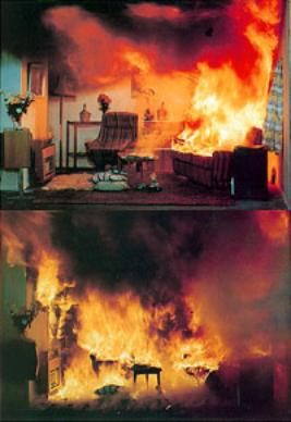 AZoM - Metals, Ceramics, Polymers and Composites: Flashover in a domestic room, showing how fire spreads and materials combust.