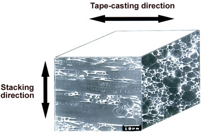 """AZojomo - The """"AZo Journal of Materials Online"""" Microstructure of polished surfaces of tape-casted and ultra-high temperature HIPed specimen with  5 mass% Y2O3 additive and 5 vol% ß-Si3N4 single crystal particles."""