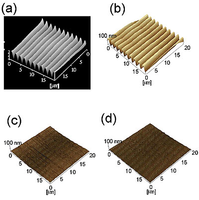 AZojomo - AZOM Journal of Materials Online - Typical AFM three-dimensional view of (a), (b) intensity holographic recorded gratings and (c), (d) polarization holographic recorded gratings on the photocrosslinkable polymer liquid crystal.