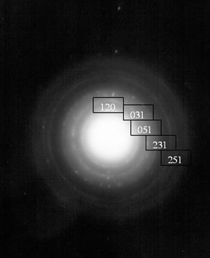 """AZojomo - The """"AZo Journal of Materials Online"""" Bright field image and its corresponding electron diffraction pattern of the pseudoboehmite.  The characteristic spike morphology of the pseudoboehmite can clearly be seen."""