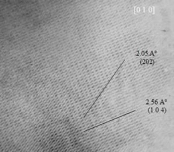 """AZojomo - The """"AZo Journal of Materials Online"""" HREM image of an a-alumina specimen.  The HREM image shows interplanar distances which correspond to this crystalline structure (a-alumina)."""