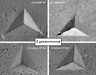 AZoNano - The A to Z of Nanotechnology - SEM images of indents from the samples. (a) as-plated sample AP, (b) annealed sample HT, (c) as-plated sample AP-ND, and (d) annealed sample HT-ND.