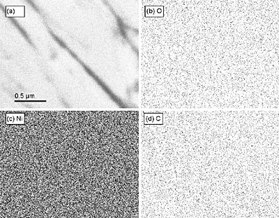 AZoNano - The A to Z of Nanotechnology - An X-ray map of a region of the as-plated sample, AP-ND, deposited from the diamond containing bath. (a) the original image with scale bar for all images, (b) a map of oxygen, (c) a map of nickel, and (d) a map of carbon are shown. No segregation of oxygen or carbon along grain boundaries can be seen.