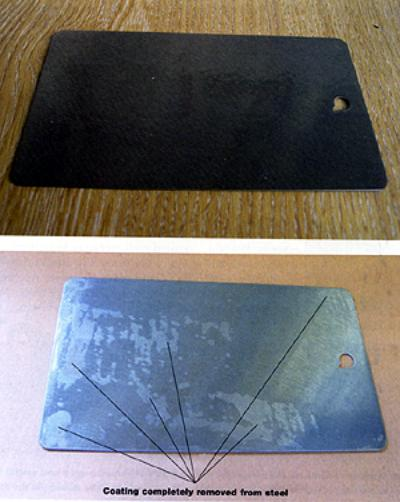 AZoM - Metals, ceramics, polymers and composites : Testing of engineered polysiloxane anti-grafitti coatings. The permanent coationg showing very little sign of degradation after many removal operations, while the semi-permanent coating has many areas where the coating has been completely removed.