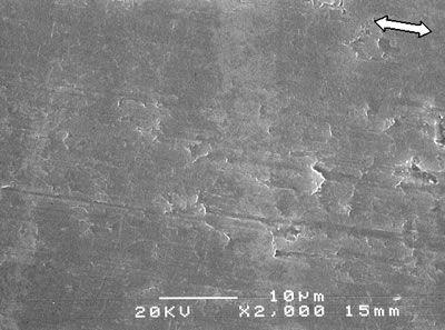 AZoJoMo - AZoM Journal of Materials Online - SEM micrographs of the worn surface of monolithic alumina alumina - 5 vol% silicon carbide nanocomposites sintered at 1600oC (ó : the sliding direction).