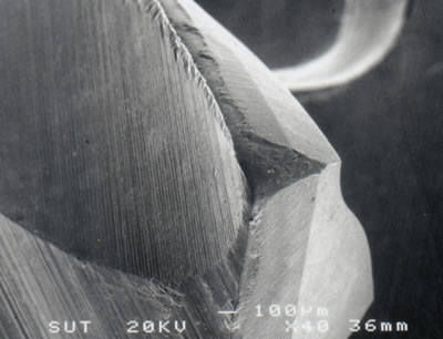 AZoJoMo – AZoM Journal of Materials Online - SEM micrograph showing corner wear and relief flank wear of the leading edge of an TiCN coated M41 endmill (v = 39.26 m/min, f = 250 mm/min, d = 4 mm).