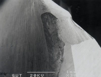 AZoJoMo – AZoM Journal of Materials Online - (a) SEM micrograph showing breakage of corner and cutting edge of a TiN coated M41 endmill (v = 39.26 m/min, f = 630 mm/min, d = 4 mm).
