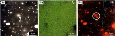 AZoM - metals, ceramics, polymers and composites : Backscattered electron image (a) and x-ray maps (b and c) of a nickel alumina composite after milling a plane surface.